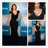 Free shippingCustom Made Kim Kardashian Mermaid Trumpet V Neck Cap Sleeve Lace Black Evening Dress Celebrity Dresses Custom Made