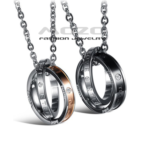 Wholesale 2015 New Hot Sale Fashion Jewelry Simple Beautiful Lovers Pendant Chain Women men Stainless Steel