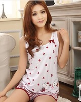 Summer sleeveless vest spaghetti strap + shorts sleepwear female 100% cotton twinset sexy plus size lounge