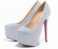 9/12/14/16CM prom heels wedding shoes women high heels crystal high heel shoes woman platforms silver rhinestone platform pumps