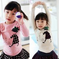 5pcs/lot hot sale girls spring long sleeve cartoon girl tshirt kids fashion cotton tops pink white 1097