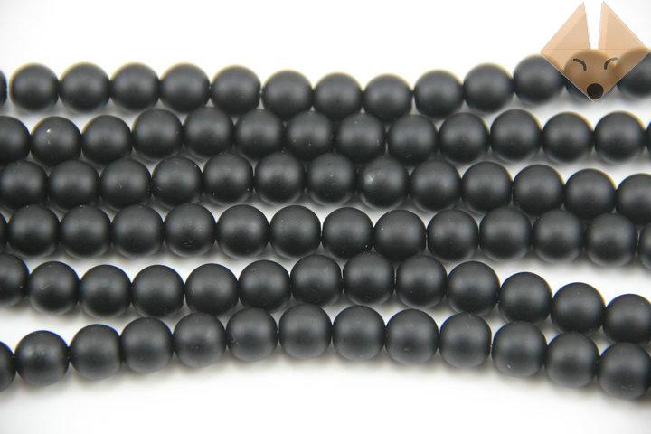 5strings/lot Diy Beaded accessories black scrub stone charm jewelry beads 6mm(China (Mainland))