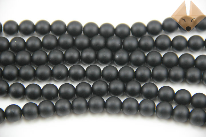 5strings/lot Diy Beaded accessories black scrub stone charm jewelry beads 6mm(China (Mainland))