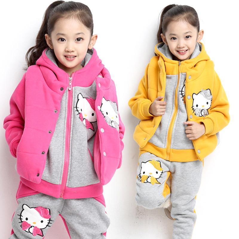 3pcs Retail European Style New 2013 Winter Fashion Hello Kitty Hoodies Sweatshirts Set For Girls Warm Thickening Outerwears(China (Mainland))