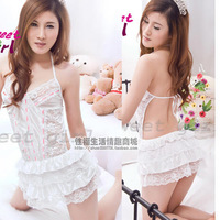 Sexy white lovely nightgown racerback short skirt temptation twinset