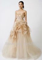 Fashion Free shipping 2014 New Lace Flower Strapless Appliques/Beading Glamorous Natural Floor-length Wedding Dresses Gown