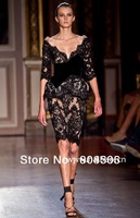 Black Lace elegant and classic sleeves Prom Gown Long Sleeves Zuhair Murad dress 2013