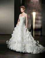 vestido de noiva 2014 Luxury A-line Sexy Sweetheart Strapless Taffeta Bridal Wedding Dress Gowns Custom Made BVF7-6