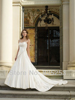 Free shipping New 2014 Custom Made A-line Spaghetti Straps Ruching Satin Wedding Dresses Gowns