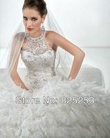 2014 Custom Made Free shipping Fashion Off 5% Spaghetti Ruched Bodice Floor Length Beaded Bridal Wedding Gown Dress