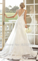 2014 Custom Made Free shipping Fashion High Quality Sexy A-Line Beading V-neck Sleeveless Satin Wedding Dresses Gown