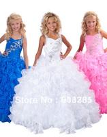 2013 White Little Girls Pageant Dresses Long Beaded Ruffles flower girl dresses Ball Gowns Floor Length RG 6139