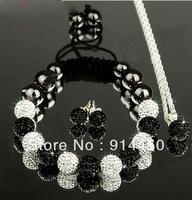 new fashion Shamballa bracelet cute bracelets&necklace&earing handmade black white jewelry sets shambhalla free shipping