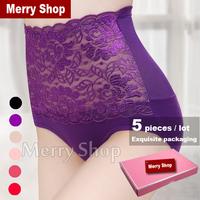 5 pcs/lot 2014 Women Carry Buttock High Waist Cotton Briefs Ladies Lace Panties Women Sexy Briefs Boxed Women Briefs Plus Size