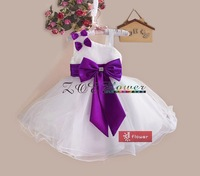 Girls Party Dress Princes Spaghetti wedding Dress With Big Bow Girl Dress 5 Colors Available Red White Blue Hot Pink Purple
