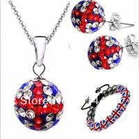 Free P&Pnew fashion Shamballa bracelet cute bracelets&necklace&earing handmade uk flag jewelry sets shambhalla