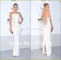 Doutzen Kroes Fashion White Strapless Sequined Slit Floor Length Backless Designer One Piece Party Dress
