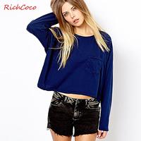 2014 new fashion street richcoco pocket decoration o-neck loose long-sleeve short design t-shirt basic shirt d243