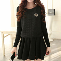 2013 autumn and winter women slim basic knitted long-sleeve woolen skirt ruffle autumn and winter one-piece dress