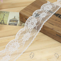 Free shipping width 6cm 50 yard/lot white swiss voile lace high quality elastic lace fabric LC-2211-W
