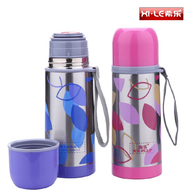 drinkware Double layer stainless steel vacuum cup glass cartoon bullet with rope cup water bottle(China (Mainland))