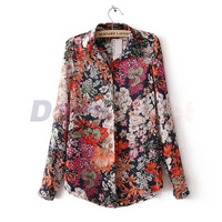 Spring Summer european style vintage flower women's long sleeve shirt lady chiffon blouse