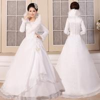 Winter wedding dress formal dress 2013 sweet princess winter long-sleeve thermal thickening winter cotton wedding dress