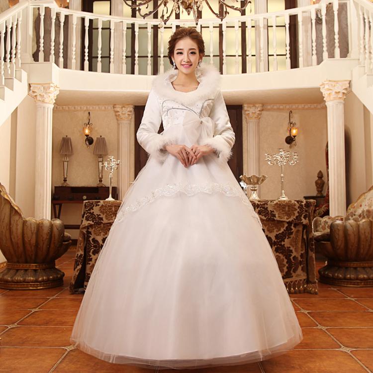 Seleucus 2013 long-sleeve cotton wedding dress brief o-neck winter maternity wedding dress(China (Mainland))