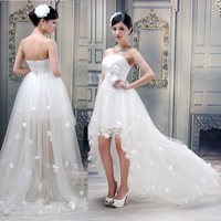 Low-high 2013 fashion bridal wedding dress small train dress costume