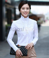 NEW FASHION KOREAN CASUAL SLIM LONG SLEEVE OL SHIRT/ WOMEN FASHION ELEGANT LACE STAND COLLAR COTTON BLOUSE