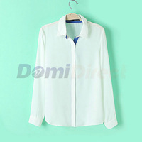 New Fashion women elegant long sleeve chiffon blouse Turn-down Collar casual slim shirts