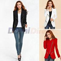 Women's Personalized Cool Lady Lapel Shrug Oblique women Zipper Jacket Fashion Coat Outerwear for women