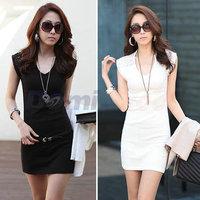 black and white Women print dresses lace chiffon dress casual bodycon sleeveless mini ol dress high street dress