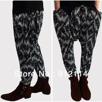 2014 Punk style stars printed mens harem pants,arena dance pantalone,banana pants men,low drop crotch Pants for men,slacks calca