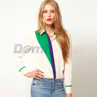 Fashion Women Chic Lapel Patchwork Long Sleeve Chiffon Blouse Chiifon Shirt White Black