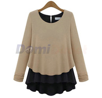 Spring Autumn casual women's long sleeve chiffon blouse thickening chiffon women's chiffon t shirt