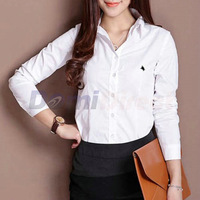 Formal women's long sleeve cotton polo shirt fashion style shirt women slim work shirt