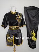 free shipping,Size customized black/blue/red/orange silk dragon chinese kongfu clothing, master uniform