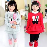 2014 autumn and winter rabbit girls clothing child thickening one-piece dress legging set tz-1091  sxl