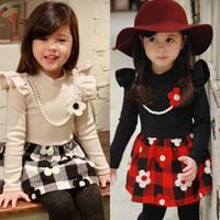 2014 autumn and winter plaid girls clothing baby child thickening plus velvet qz-1212 one-piece dress  sxl