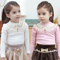 2014 spring collar maomao girls clothing baby child long-sleeve T-shirt tx-2595 basic shirt  sxl
