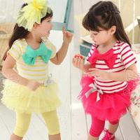 2014 summer bow girls clothing one-piece dress legging set tz-0739  sxl