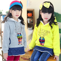 2014 autumn and winter doll girls clothing baby thickening berber fleece sweatshirt outerwear wt-1736  sxl