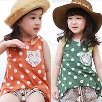2014 summer polka dot girls clothing baby child vest shorts set tz-0733  sxl