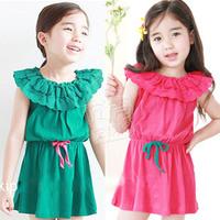 2014 summer ruffle collar girls clothing baby short-sleeve dress tank dress qz-0260  sxl