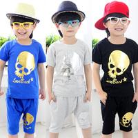 2014 summer skull small male children's child clothing child short-sleeve T-shirt capris set tz-0798  sxl