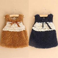 2014 autumn and winter girls clothing child berber fleece thickening one-piece dress tank dress qz-1156  sxl