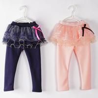 2014 winter lace girls clothing baby child plus velvet thickening culottes legging kz-3122  sxl