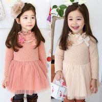 2014 winter small flower girls clothing baby child thickening cotton one-piece dress qz-1165  sxl