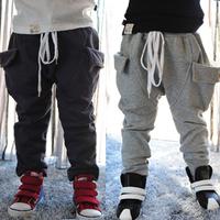 2014 autumn and winter pocket boys clothing baby child fleece long trousers harem pants kz-2338  sxl